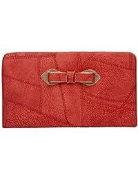 Envie Faux Leather Red Zipper Closure Croc Pattern Clutch For Women For Women