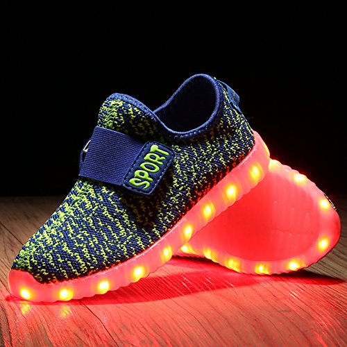 Feicuan Kid Retractable Double Roller Skate Schuhe LED Flashing Turnschuhe Green