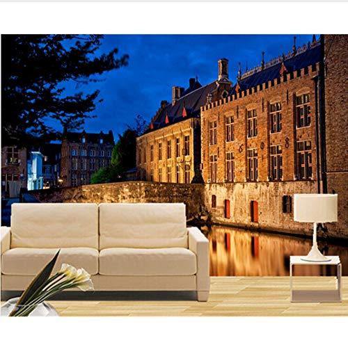 VVNASD 3D Tapete Wand Wandbilder Dekorationen Aufkleber Bridges Houses Night Canal Cities Hotel Wohnzimmer Schlafzimmer Kunst Mädchen Schlafzimmer (W) 400X(H) 280Cm (Party City Marina)