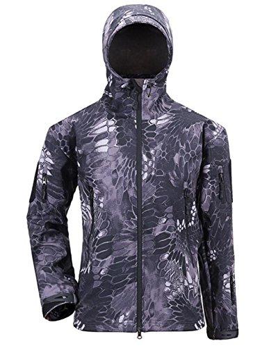 Herren Jacke Softshelljacke Windbreaker Wetterschutzjacke Funktionsjacke mit Outdoorjacke Kapuze Winterjacke Regenjacke Schwarze Pythonschlange