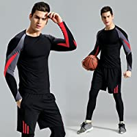 Mens 3 Pieces Fitness Clothing Set Pants Tights Clothing Sets Quick Dry Stretch for Bicycle Pants Casual Outdoor Outdoor Running