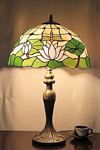 16 Zoll Lotus und Libellen Vintage-Pastoral Luxus Europäische Tiffany Tischlampe Schreibtischlampe Nachttischlampe