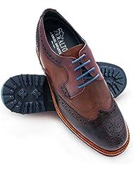 Zerimar Zapatos de Hombre con Alzas Interiores EN Piel Aumento 7 cm Zapatos Caballeros Color Azul Marino