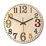 RoadRoma Relojes de Pared Digitales Relojes de impresión Circulares Decorativos para el hogar Decoración para el hogar, Amarillo y Negro #D