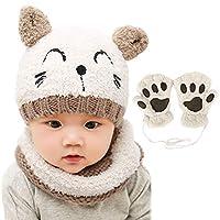 Bearbro Baby Boys Kids Girls Winter Scarf Hat and Gloves, Knitted Hat Scarf Set Neckerchief Warm Winter Crochet Hat Set 1-4 Years