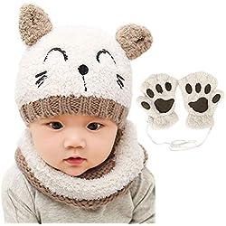 Bearbro Bufandas del Bebé, Invierno Niño Niña Sombrero y Bufandas otoño Invierno niños niñas Punto Gorras y Bufanda Guantes Traje de Tres Piezas (Blanco)
