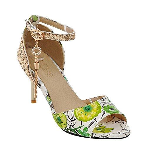 Mee Shoes Damen high heels Ankle strap Pailletten Pumps Grün