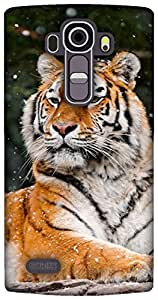 The Racoon Lean printed designer hard back mobile phone case cover for LG G4. (snow tiger)