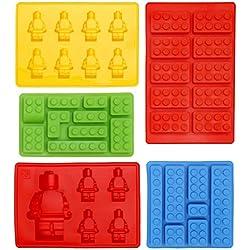 Stampi a Forma Di Lego in Silicone Set di 5 Formine per Cubetti di Ghiaccio, Forma per Caramelle, Stampo per Cioccolato, Ideali per Feste a Tema Costruzioni e per Bambini