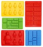 Lego Shaped Ice Cube Tray Silicone Moulds, Candy Moulds, Chocolate Moulds, For Kids Party's and Building Themes, Set of 5