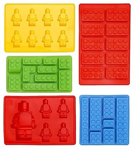 Moules En Silicone – En Forme De Briques/Bonhomme - Moule Lego Idéales Pour Glaçons, Bonbons, Chocolat, Nourriture - 100% Sur Pour Enfants – Tous les types du Création et Bricolage, Set de 5