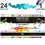 Stationery Island Brush Pens Pinselhaar Spitze - Aquarell Pinselstifte 4 Jahreszeiten Farb-Edition für Kalligraphie, Bullet Journal & Coloring - 24er Pack + 1 Wasserpinsel