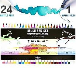 Stationery Island Brush Pen 24er Set 4 Jahreszeiten Farb-Edition + 1 Wasserpinsel - Aquarell Pinselstifte Set mit Pinselhaarspitzen. Ideal für Kalligraphie, Bullet Journals, Zeichnungen und Colouring