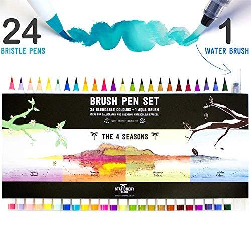 Stationery Island Brush Pen 24er Set 4 Jahreszeiten Farb-Edition + 1 Wasserpinsel - Aquarell Pinselstifte Set mit Pinselhaarspitzen. Ideal für Kalligraphie, Bullet Journals, Zeichnungen und Colouring -