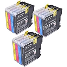 PerfectPrint - 12 cartuchos de tinta LC-980 LC1100 de impresora compatible para Brother