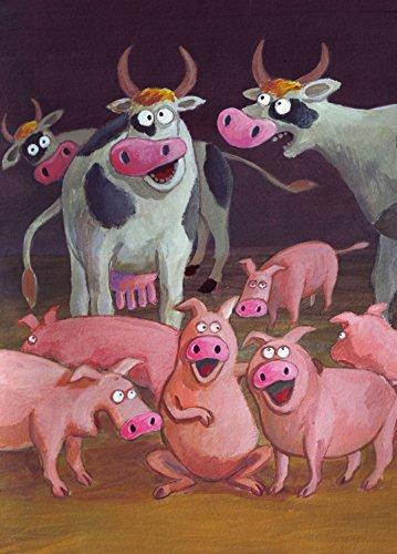 Postkarte A6 • 42911 ''Guten Morgen'' von Inkognito • Künstler: Josef Hammen • Kinder/Märchen • Geburtstag - Grußkarten Kuh