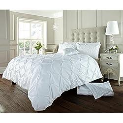 Luxus Bettbezug set mit Kissenbezug neue Bettwäsche (Alford Weiß, Doppel)