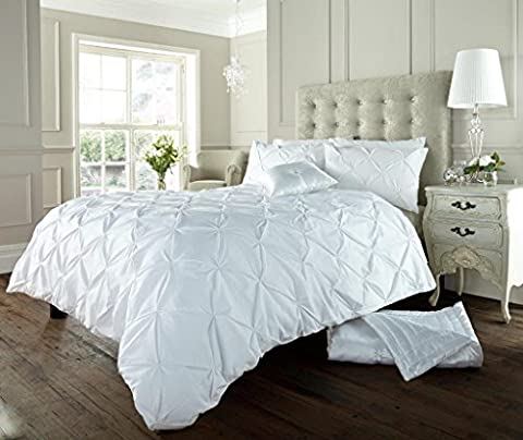 Luxury Duvet Cover Double With Pillowcases Quilt Bedding Set Reversible Poly Cotton , Alford White