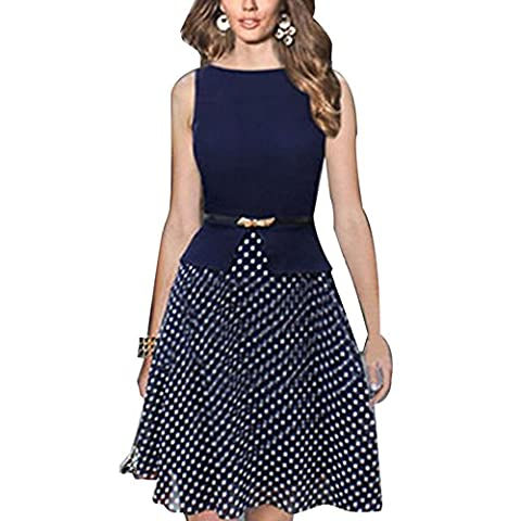 FIODAY Boutique Fit-and-Flare Dresses Color-Block Polka Dot Print Tank Chiffon
