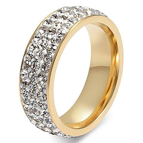 UM Schmuck Herren Damen Drei Reihe Kristall Ringe Gold Ton