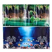 AJIAMA Blue Fresh Sea Background Aquarium Ocean Landscape Poster Fish Tank Background