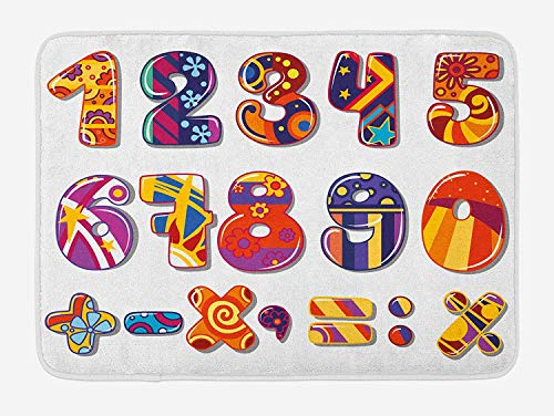 BUZRL Mathematics Classroom Bath Mat, Cartoon Educational Colorful School Numbers Floral Vibrant Digits, Plush Bathroom Decor Mat with Non Slip Backing, 23.6 W X 15.7 W inches, Multicolor