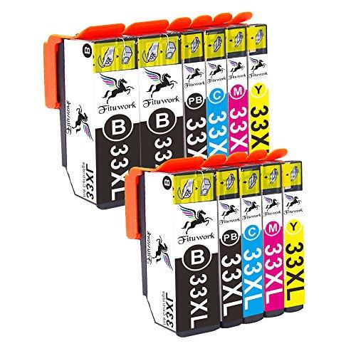 High-yield-tinte (Fitwork 2Set+1B (3BK 2PBK 2C 2M 2Y) Kompatible Tintenpatronen passend für Epson 33XL Einsatz in Expression Premium XP-830 XP-635 XP-900 XP-530 XP-630 XP-640 XP-540 XP-645 11Pack- (2BK2PB2C2Y2M))