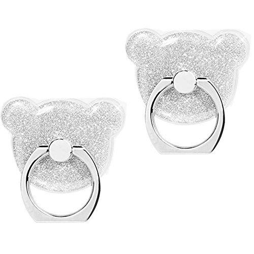 Fansong supporto ad anello, a forma di orso, girevole di 360°, con glitter, ideale per l'auto, per smartphone iphone 6, 6s, 7, 8plus, samsung galaxy note 8, s8, a5, s7edge, confezione da 2 pezzi