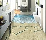 Malilove 3d-PVC Bodenbeläge custom Wall Paper Sand Wellen mit Muscheln 3d Bad Foto 3d Wandbilder Tapeten