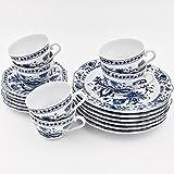 Kahla 170290M72067U Zwiebelmuster Kaffeeservice Tee Geschirr Porzellan, 18 tlg. 6 Person weiß Blau Kuchenteller Tasse Untertasse Komplettset Frühstück