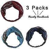 3er Pack Retro elastisches Haarband, Frauen Twisted Turbane Stirnband Boho...