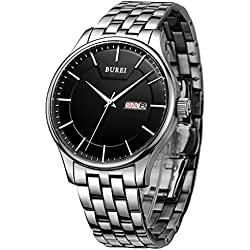BUREI Men's Day and Date Calendar Quartz Watch Wristwatch with Black Dial Stainless Steel Bracelet