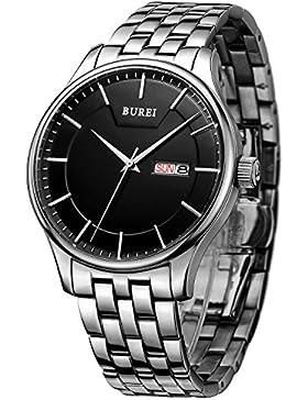 BUREI Edelstahl Herren uhr Tag Datumsanzeige Armbanduhr mit silberner Zeiger und schwarzem Großes Zifferblatt...