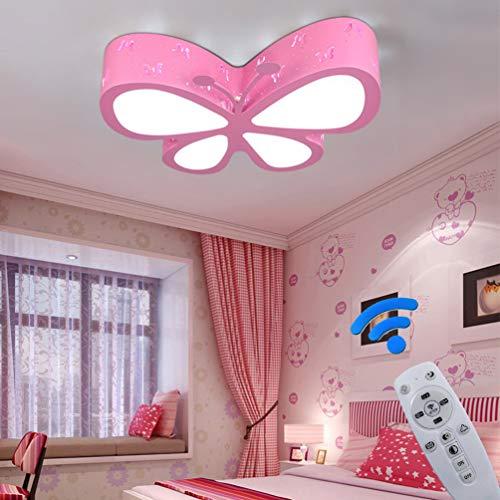 Eisen Bad Lampe (LED Deckenlampe Dimmbar Kinderzimmerlampe Schmetterling Deckenleuchte Mädchen Schlafzimmer Lampen Fernbedienung, Eisen Acryl-schirm Lampe Esszimmer Bad Küche Decken Leuchten L50*W40*H10cm (Pink))