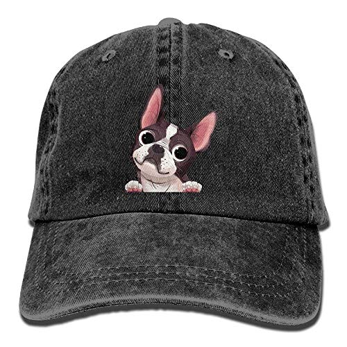 Osmykqe Cartn Boston Terriers Bulldog Denim-Hut-justierbare Mens niedrige Baseballmützen 03VV9176 - Kleinkind Boston Baseball-cap