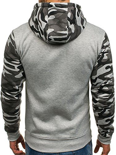 BOLF Herren Pullover mit Kapuze Sweatshirt Langarmshirt Sweatjacke Militär Army Camo Muster 1A1 Dunkelgrau_XHP1005