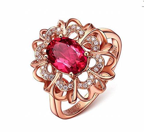 Thumby Jewelry Damenschmuck 8K Roségold Eingelegten Farbigen Edelstein-Ring Schmuck Krone Diamant Damen Legierung Eingelegten Künstlichen Edelstein/Halbedelstein, im Bild, 5 (Ringe Edelstein-hochzeit Farbige)
