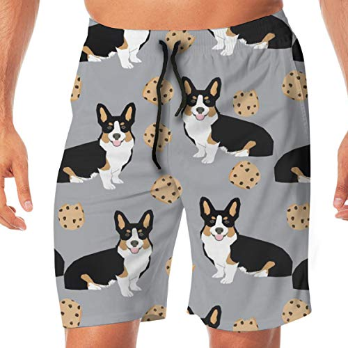 Nicegift Tricolored Corgi Dog Dogs and Cookies -Grey Surfing Pocket Elastic Waist Men's Beach Pants Shorts Beach Shorts Swim Trunks XX-Large (Golf Classic Knit)
