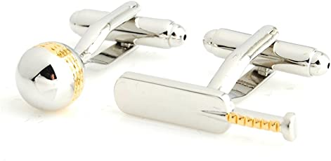 Ss Gold and Silver Cricket Bat and Ball Cufflinks for Men