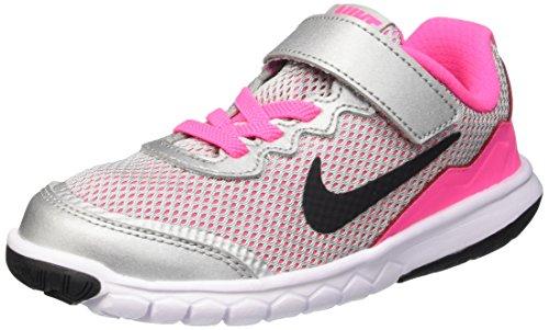 Nike Mädchen Flex Experience 4 (Psv) Turnschuhe Silber / Schwarz / Weiß / Pink (Mtllc Silber / Blck-Wht-Pnk Pw)