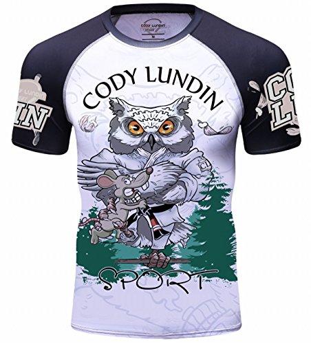 Cody Lundin Herren Mode Held Zeichen Logo Bunte Outdoor Sport Fitness Laufen Kurzarm (L, Color-h)