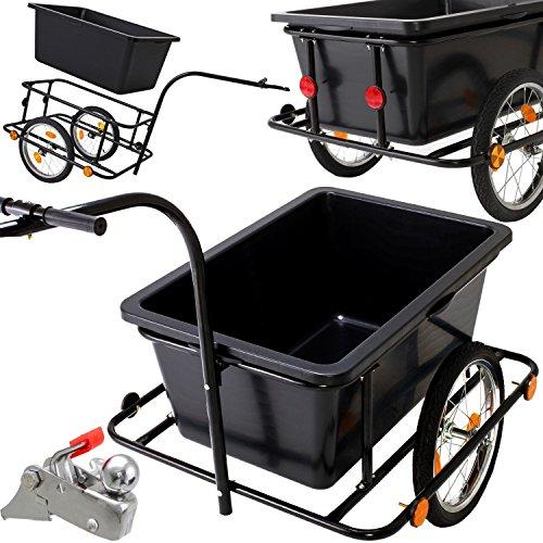 Kesser Fahrradanhänger mit 90L Kunststoffwanne inkl. Kupplung - Lastenanhänger Transportanhänger Anhänger Handwagen