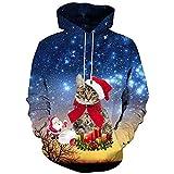 SuperSU Herren Unisex 3D Druck Hoodie Drawstring Taschen Weihnachtspullover langärmliges mit Kapuze Sweatshirt übersteigt Freizeit Bluse Christmas Jumper Tops