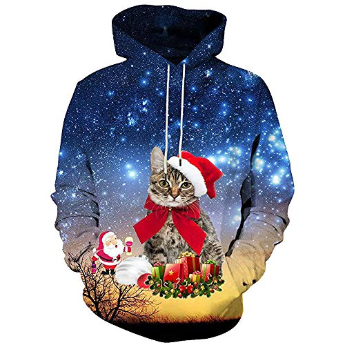 Hingpy Männer Frauen Winter Weihnachten Langarm Kapuzenmantel Pullover Outwear Tops Bluse