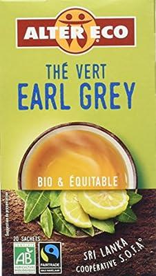Alter Eco Thé Vert Earl Grey Ceylan Bio et Équitable 20 sachets - Lot de 4