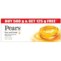 Pears Pure & Gentle Bathing Soap Bar 125 g (4+1 Free Combo) Moisturizing Glycerin Soap for Soft, Glowing Skin & Body…