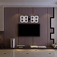 Digital LED Reloj de Pared con Cronógrafo Termómetro Cuenta Atrás Calendario EU Enchufe (Negro)