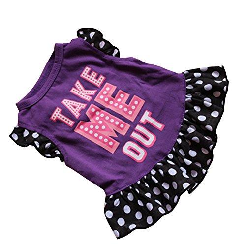 etophigh niedliches Sommer Pet Kleid Prinzessin Tutu Kleid Rock Spitze Ärmel Dots Prints Kleidung für Puppy Hund Katze -