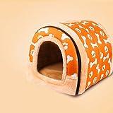 YXINY Hundehütte Katzen-Nest Baumwollnest Warmer Zwinger Drinnen Draußen Hundehütte Haustierzubehör Doppelnutzen Wasserdicht Abnehmbar Und Waschbar Rot Lila Orange Rose (Farbe : Orange, größe : M)