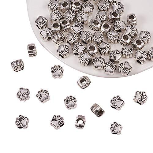 PandaHall Elite 60pcs / Box 11x10,6x7,5mm Tibetische Zinklegierung Europäische Perlen mit 4.8mm Loch, Hundepfote Form Spacer Perle für Armband Schmuckherstellung, Antik ()